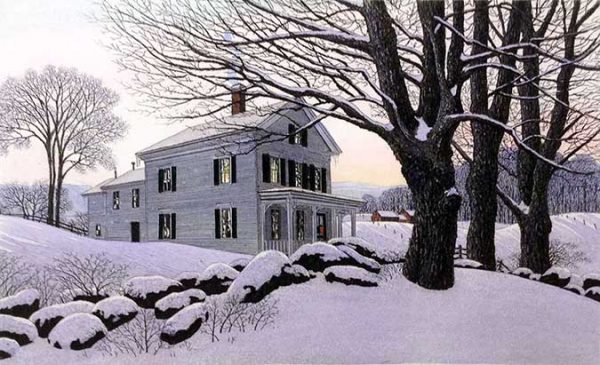 Carol Collette etching on paper of white farm house in New England with trees in snow