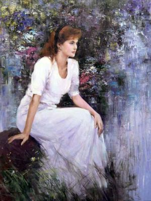 An He Hans Amis Daydream painting of girl in white dress sitting among flowers