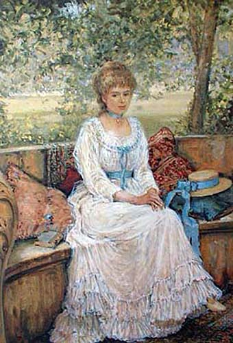 Alan Maley - Daydreams litho of girl in white dress sitting on bench outside