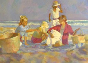 Don Hatfield - Day's End print of four people sitting on towels with baskets at the beach at sundown