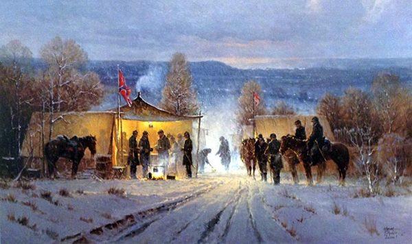 G. Harvey - Decisions at Dawn civil war print of confederate camp in winter