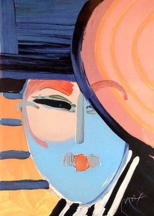Peter Max - Deco Lady print of woman with light blue face and blackish blue hat