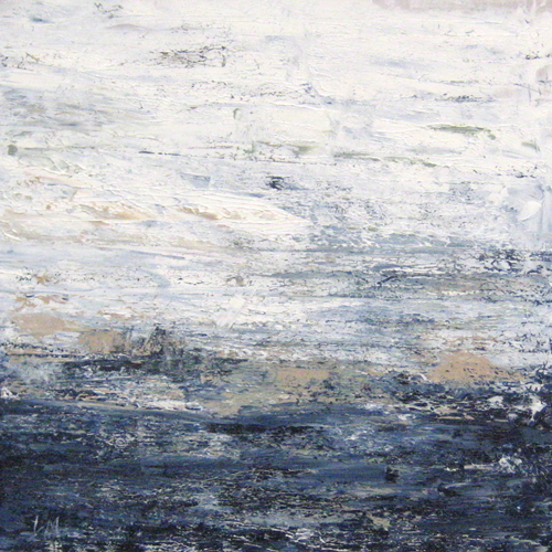 Leah Mitchell Abstract Contemporary Seascape with Teal Navy Blue White and Beige