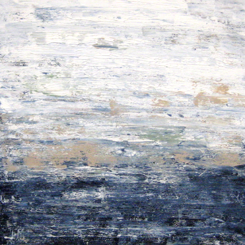 Leah Mitchell Contemporary Painting of Seascape with Navy Ocean and White Clouds on Horizon