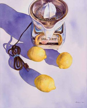 Painting of lemons and a juicer