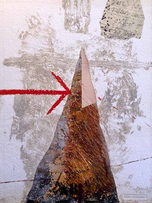 James Coignard Designation (39x29 carborundum engraving etching) abstract geometric forms and red arrow