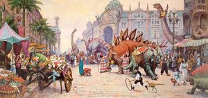 James Gurney - Dinosaur Boulevard print of people and dinosaurs shopping in a crowded street market