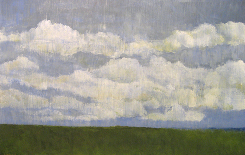 Leah Mitchell Landscape of Green Grass and Clouds on Blue Sky