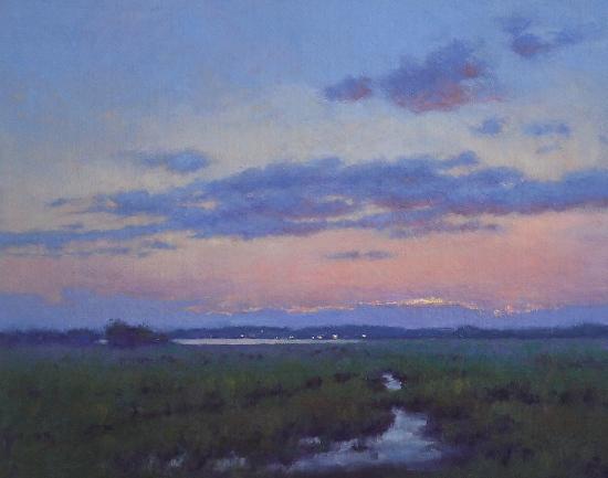 Hillary Scott Landscape Oil Painting of Dusk Sunset on North Shore MA