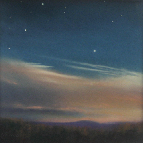 Will Klemm Pastel painting of a starry night sky with clouds