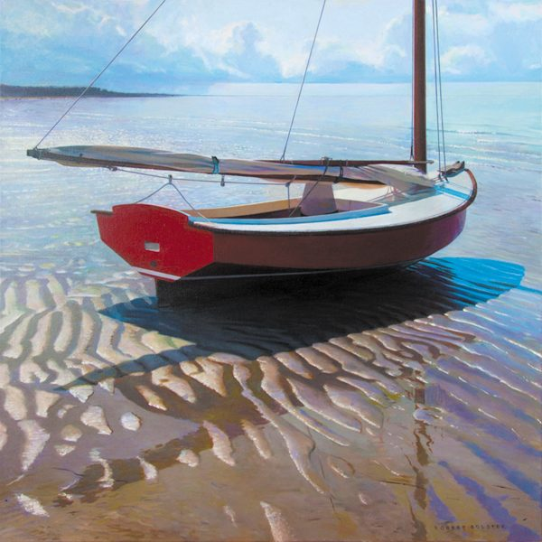 Robert Bolster Oil Painting of Sail Boat at Lowtide Beached on Sandy Beach