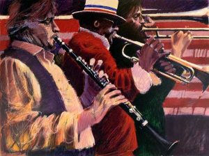 Aldo Luongo - Dixieland print of three musicians playing wind instruments