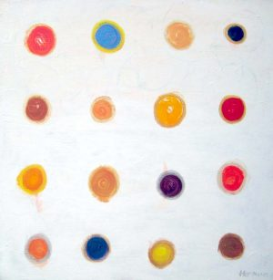 Ellen Hermanos Abstract Polka Dot Acrylic Painting on Canvas in Reds and Oranges and Blue on White