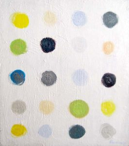 Ellen Hermanos Abstract Polka Dot Painting on Canvas in Gray and Yellow