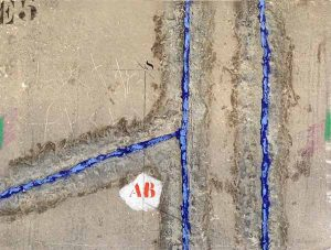 James Coignard Double Vertical Bleu (20x26 carborundum engraving etching) abstract with typography and blue lines