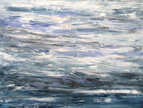 Leah Mitchell Dream Abstract Oil Painting on Canvas of Blue Waves and Ocean Seascape