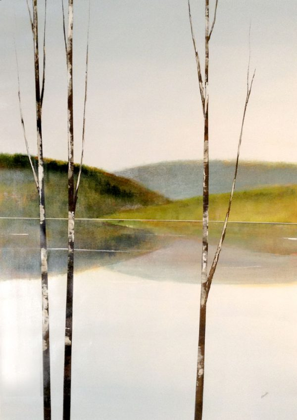 Sydney Edmunds Oil Painting on Canvas of Birch Trees on Water with Green Hills Lake Reflections