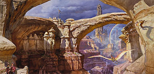 James Gurney Dream Canyon with flying dinosaurs and rainbow