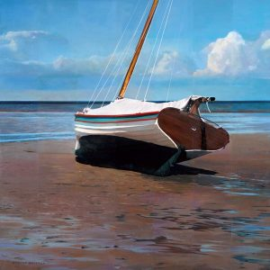 Robert Bolster Oil Painting on Linen of Sailboat on the Beach