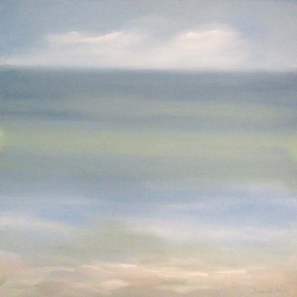 Dannielle Mick Soft Contemporary Seascape Painting with Teal Aqua Greens and Blues with Beige Sand