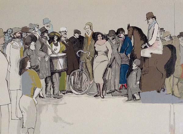 David Schneuer - Drummer print of crowd and man with big drum