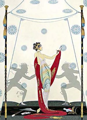 Erte - The Duel print of Grecian woman in front of fighting silhouettes