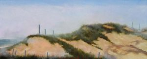 Painting of dunes in fog