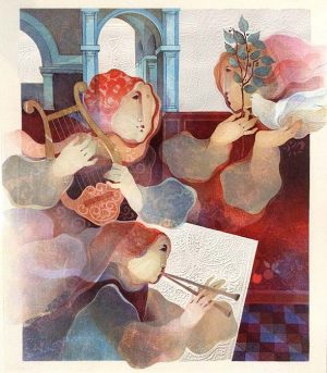Sunol Alvar - Duo - from Suite Lyrique print of people playing a harp and flute
