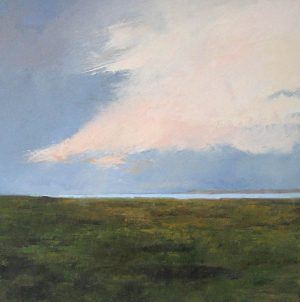 Mary Nolan painting Dusk Light of grass and sea and clouds