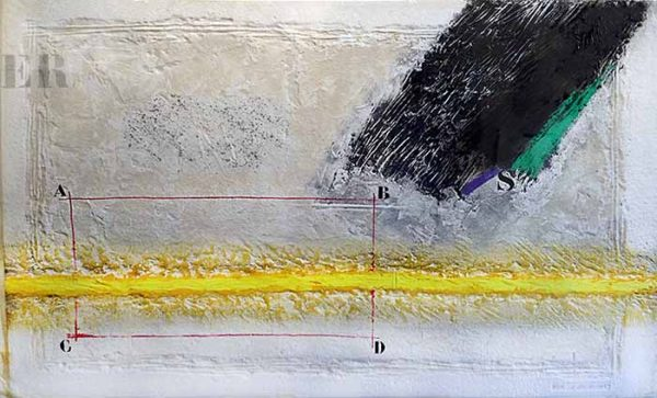 James Coignard Dynamique Horizontal (39x59 carborundum engraving etching) abstract with typography and lines
