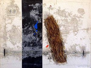 James Coignard Dynamique en Brun (carborundum etching on handmade paper) abstract geometric shapes with typography