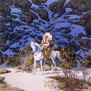 Bev Doolittle - Eagle Heart print of native american man riding a white horse