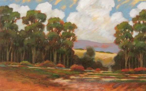 Robert Chapman Painting of trees and an open field