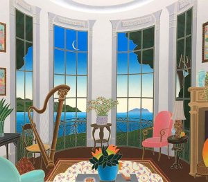 Thomas McKnight - Eastern Shore print of room with harp overlooking water