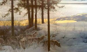 Robert Bateman Edge of Night Timberwolves print of wolves among trees and grass in winter