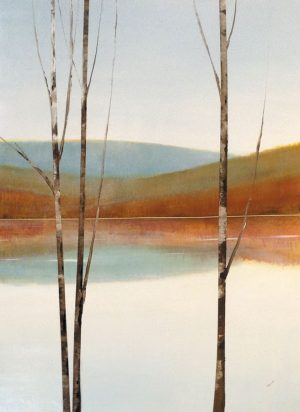 Sydney Edmunds Oil on Canvas of Winter Birch Trees over Lake with Mountain Blue Orange White