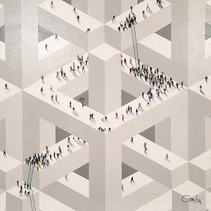 Craig Alan Abstract Surreal Geometric Painting of Figures Walking on Streets