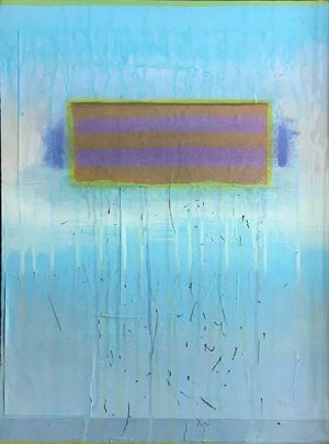 Laurie Goddard Abstract Contemporary Painting of Teal Bright Neon Blue Mixed Media