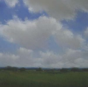 Will Klemm modern pastel painting of clouds over a green landscape