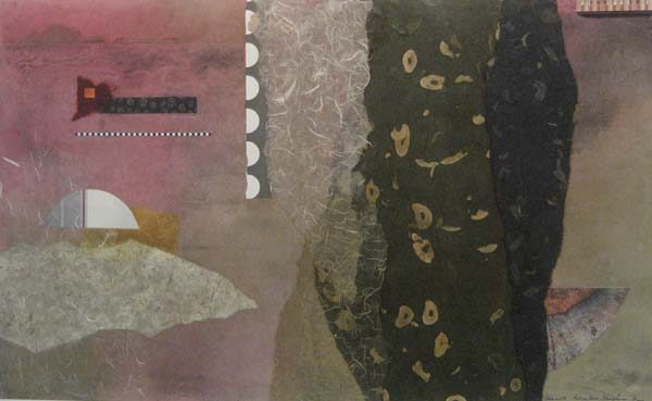 Abstract collage with purple and gray