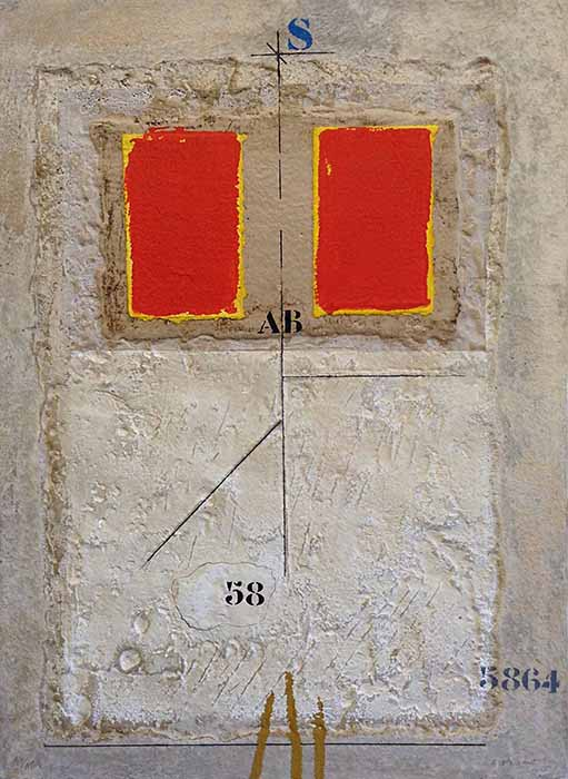James Coignard Espaces Rouges (27x19 carborundum engraving etching) abstract with typography and red rectangles