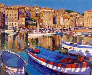 Aldo Luongo - European Port print of boats docked in a marina surrounded by buildings