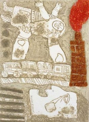 Theo Tobiasse - Destins Evanouis judaica print of person holding up a crying child with a train and a chimney