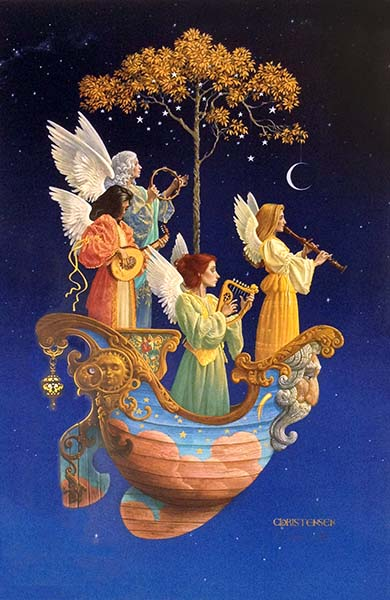 James Christensen - Evening Angels print of four angels playing instruments in a ship in the sky with a tree