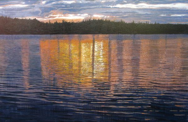 Joseph Sampson Painting of Lake with Sunset Reflections