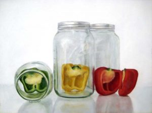 Susan Budash Traditional Still life Oil Painting of Red Yellow Green Pepper Vegetable in Mason Jars