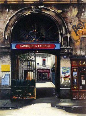 Thomas Pradzynski - Fabrique de Faience print of shops in french neighborhood