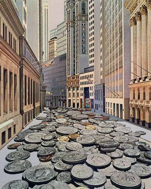 Doug Webb - Face Value print of large coins on city street