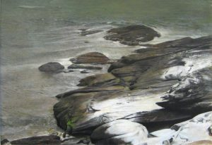 Rob Bolster oil painting of rocks at beach