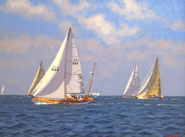 James (Jim) Wolford oil painting of sailboats on nautical ocean atlantic sea